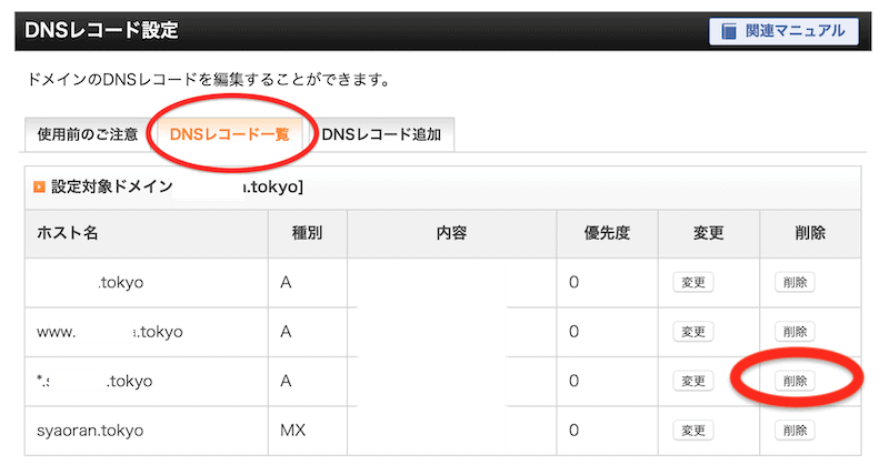 DNSレコード設定一覧